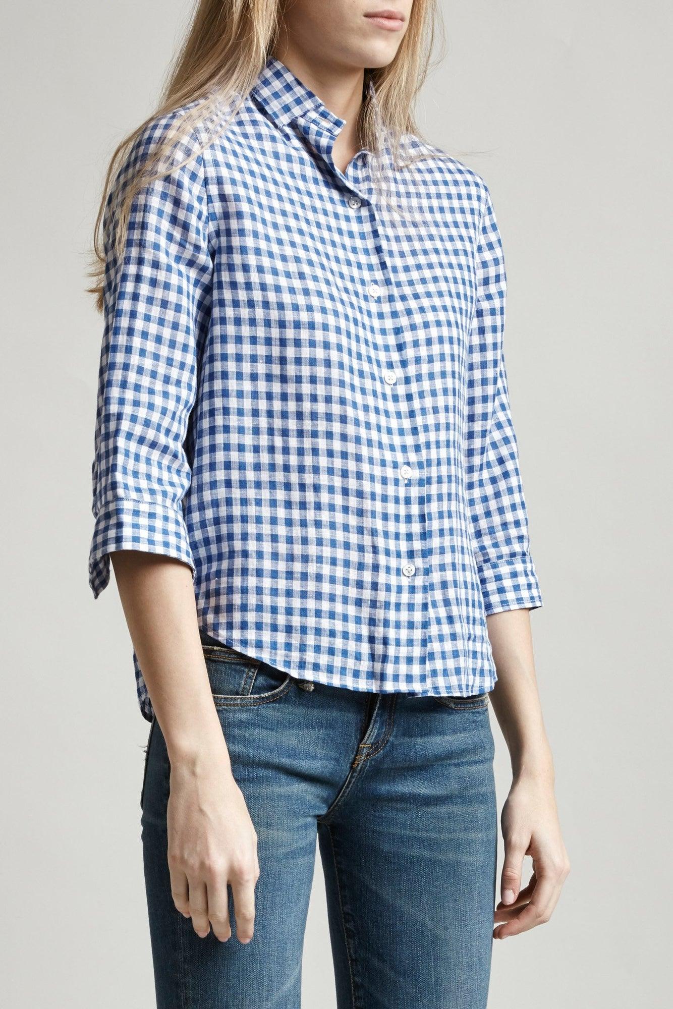 3/4 Sleeve Cowboy - Blue/White Mini Check