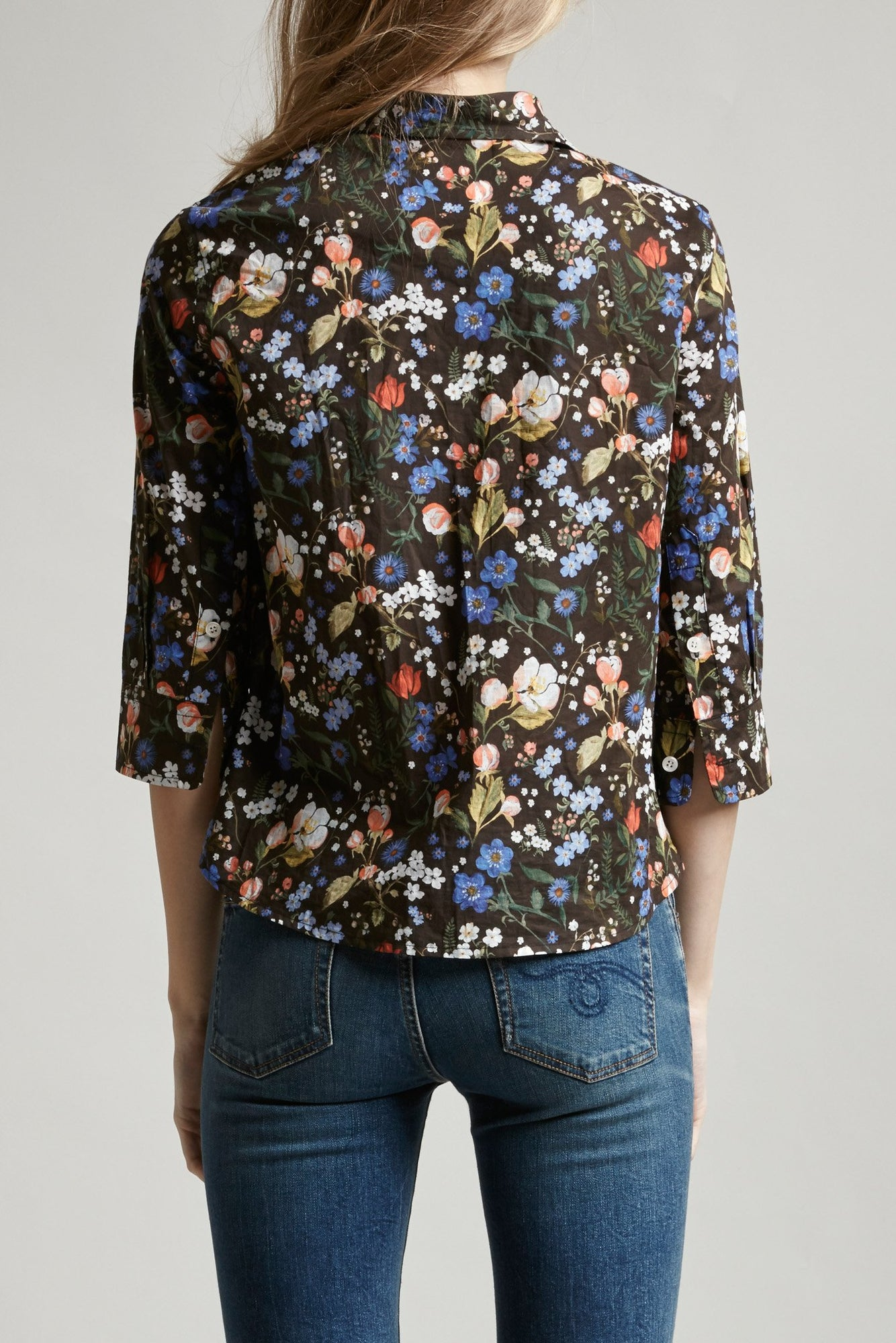 Exaggerated Collar Shirt - Multicolor Floral
