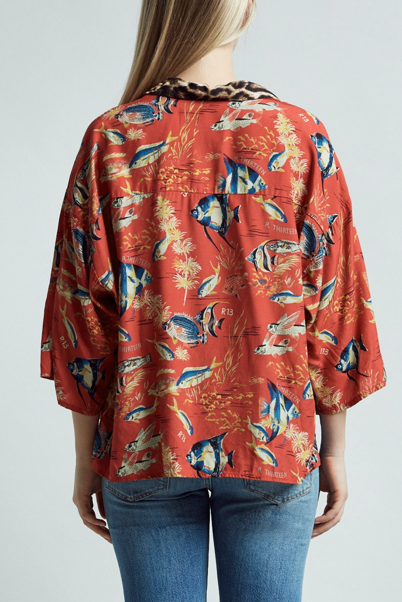 Oversized Hawaiian Shirt– Red Fish with Leopard