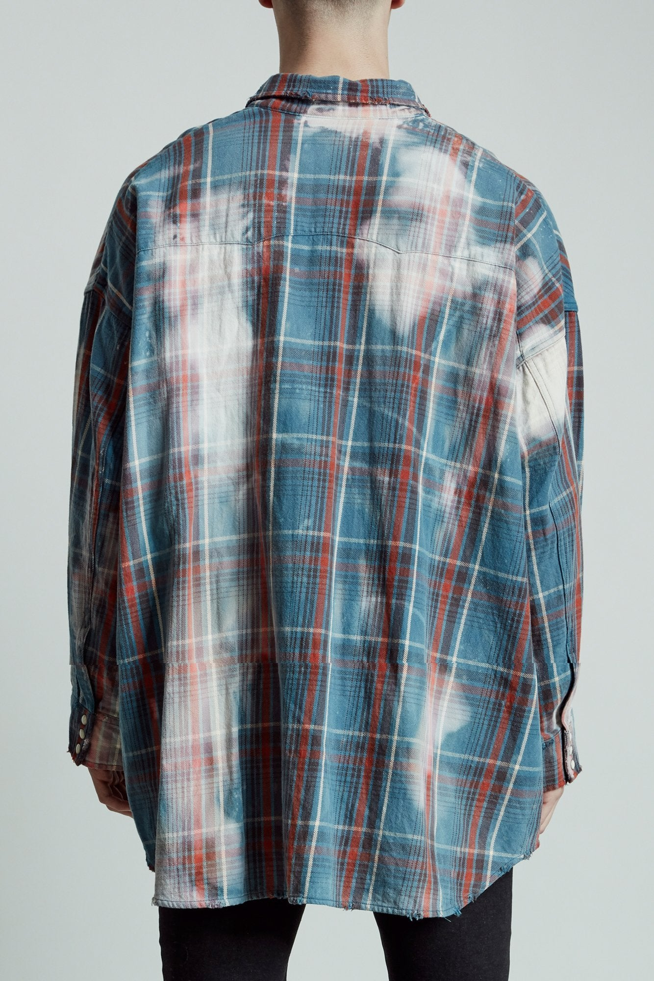 Oversized Cowboy Shirt - Blue Plaid with Bleach Stains