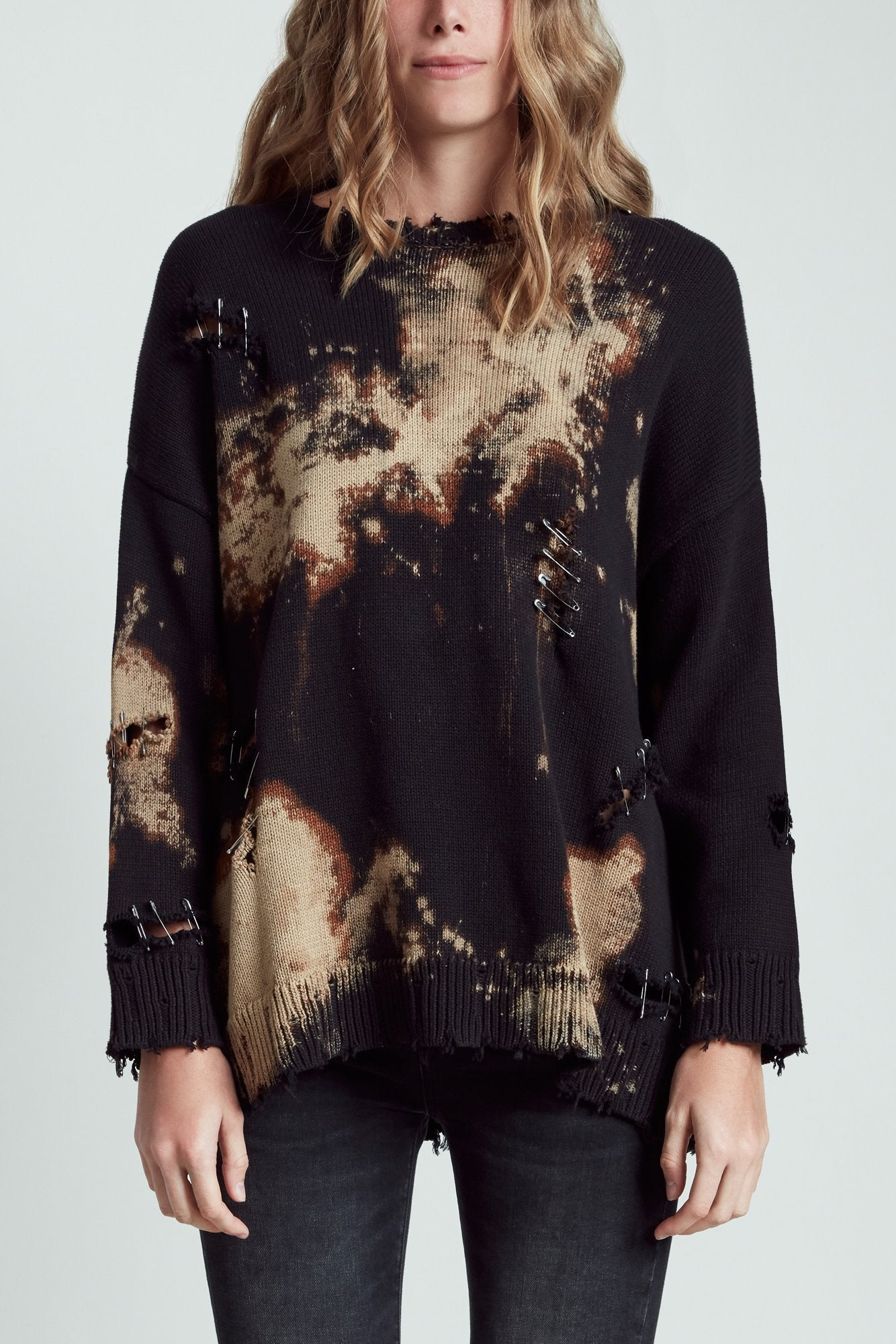 Bleached Distressed Crewneck Sweater