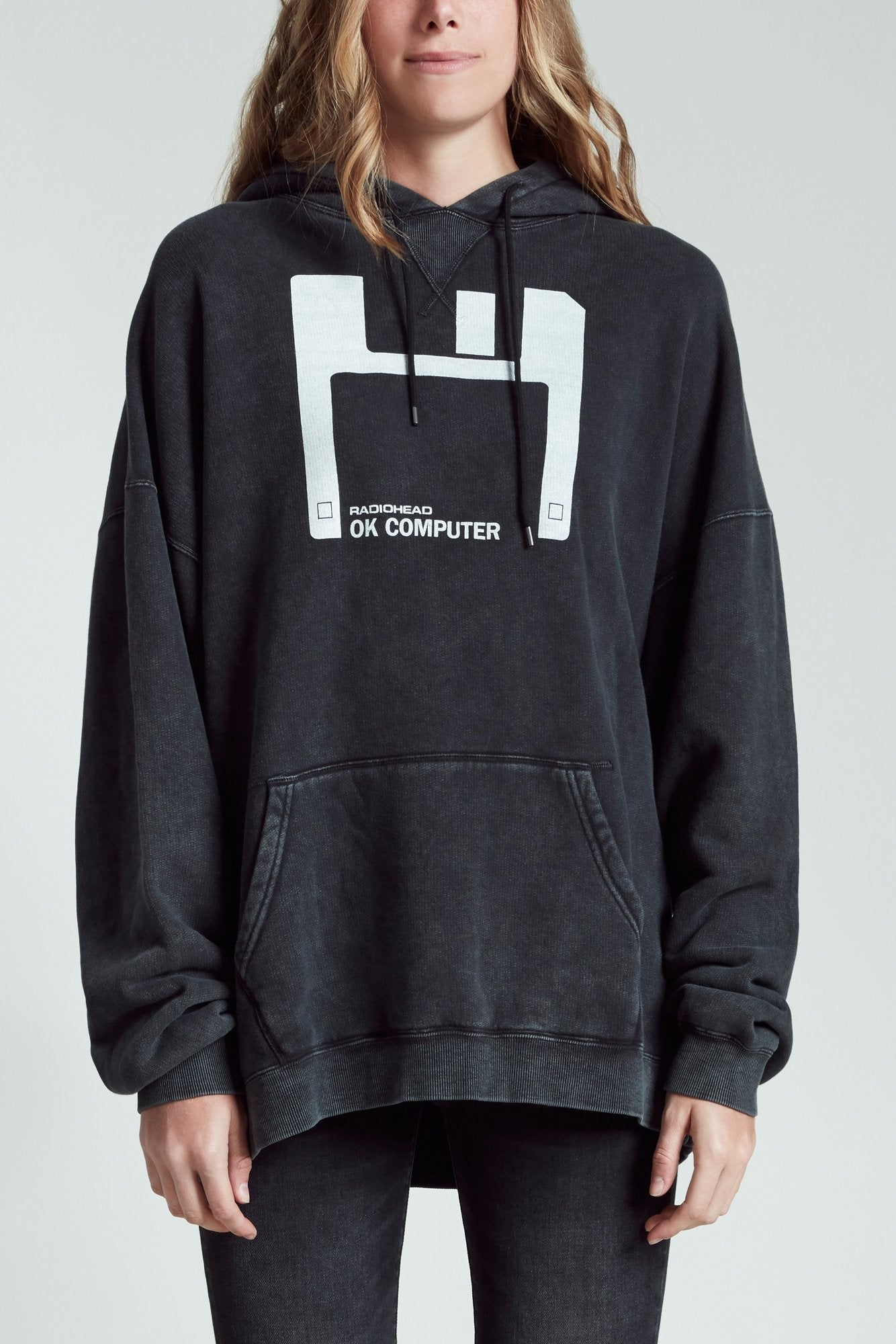 Floppy Disk Oversized Hoodie - Acid Black
