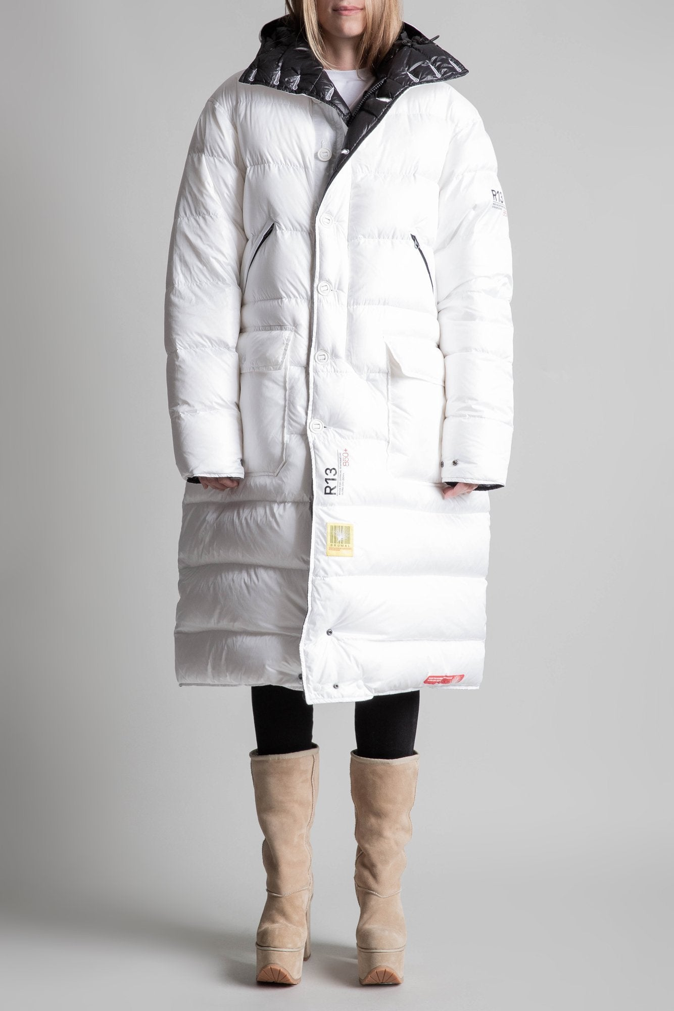 Long Anorak Puffer Jacket - White and Black