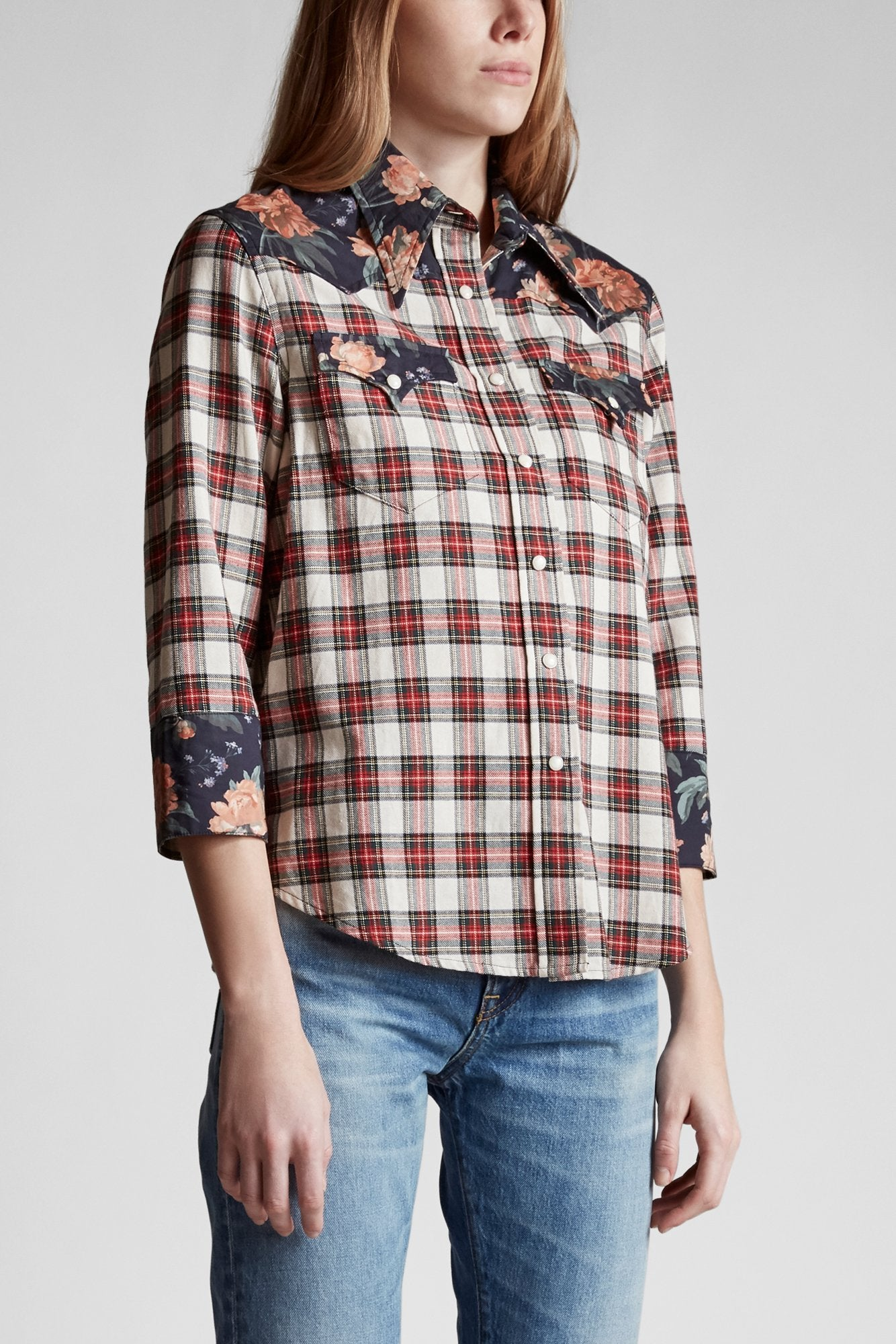 Exaggerated Collar Cowboy Shirt - Ecru with Black Floral