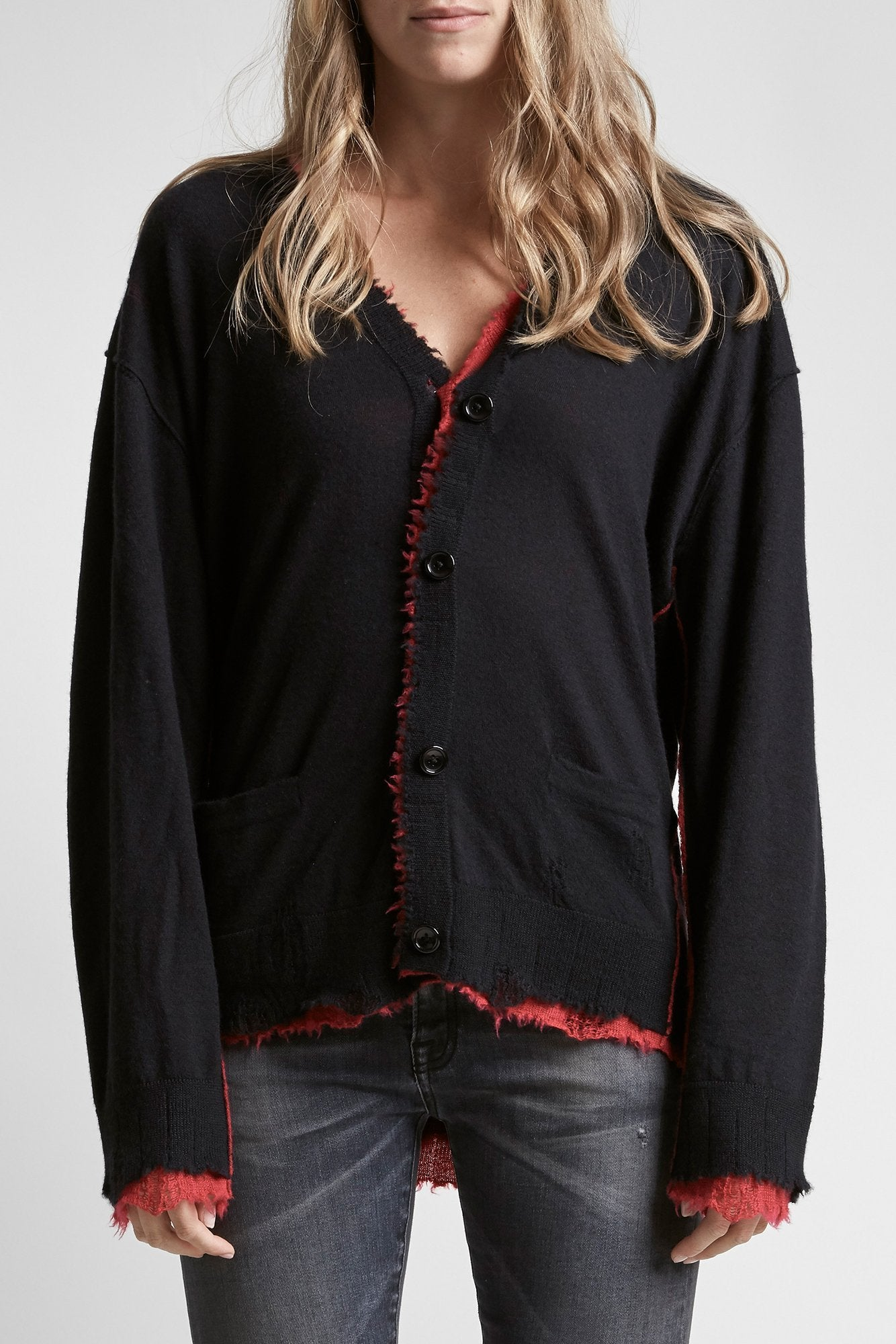 Reversible Cardigan - Black/Red