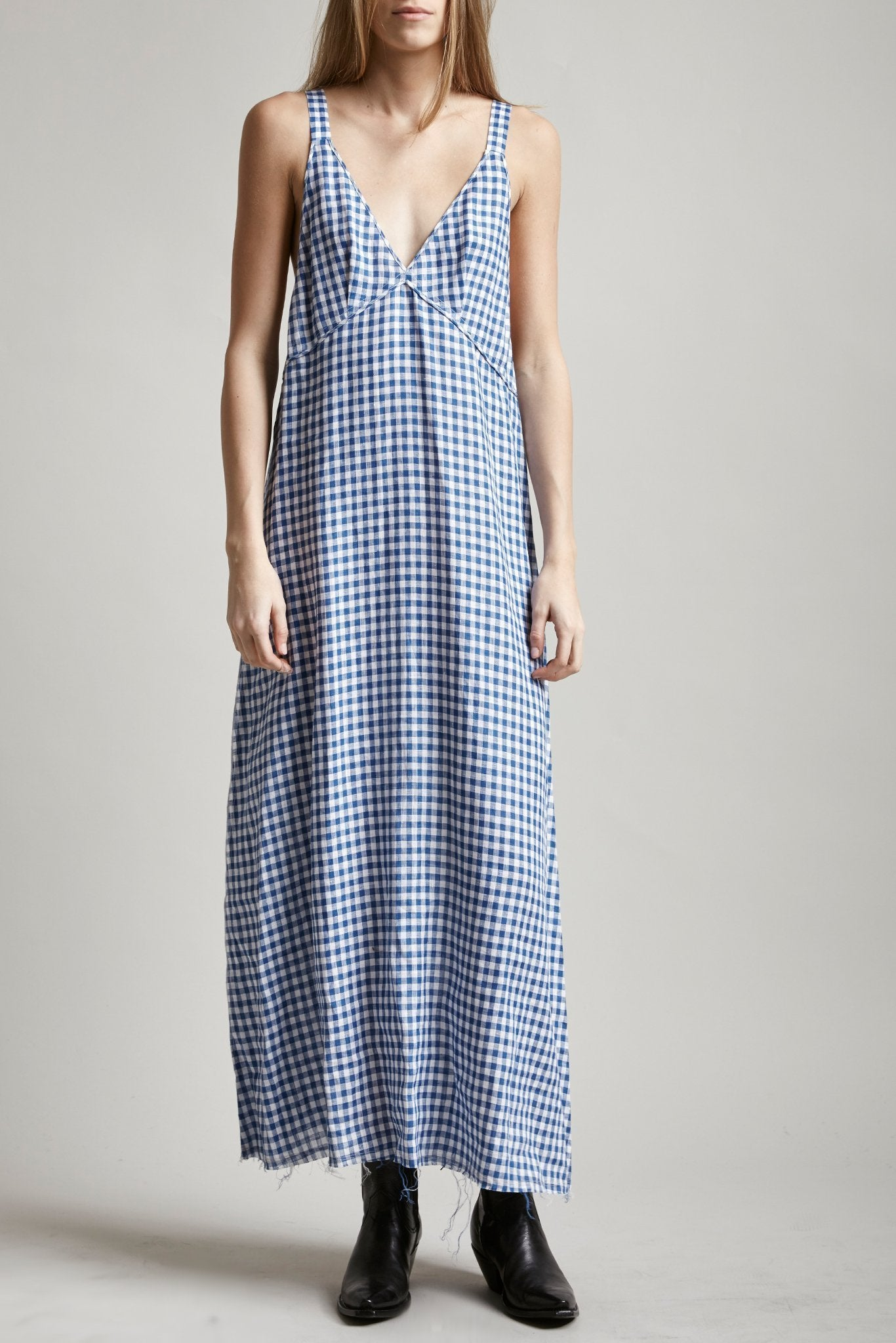 Long Slip - Blue/White Mini Check