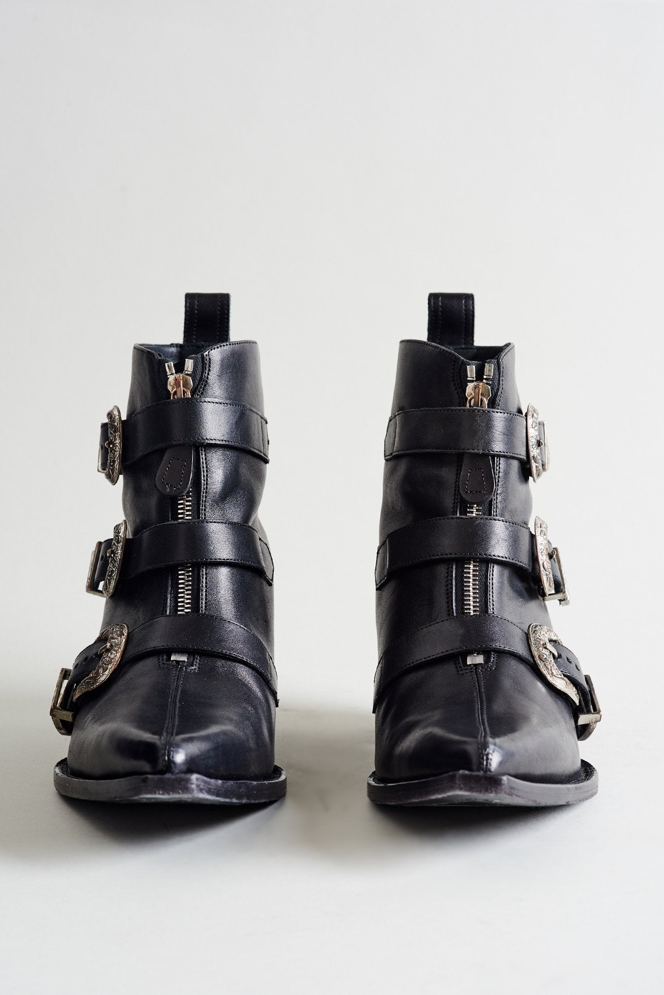 Ankle Three Buckle Boot - Black