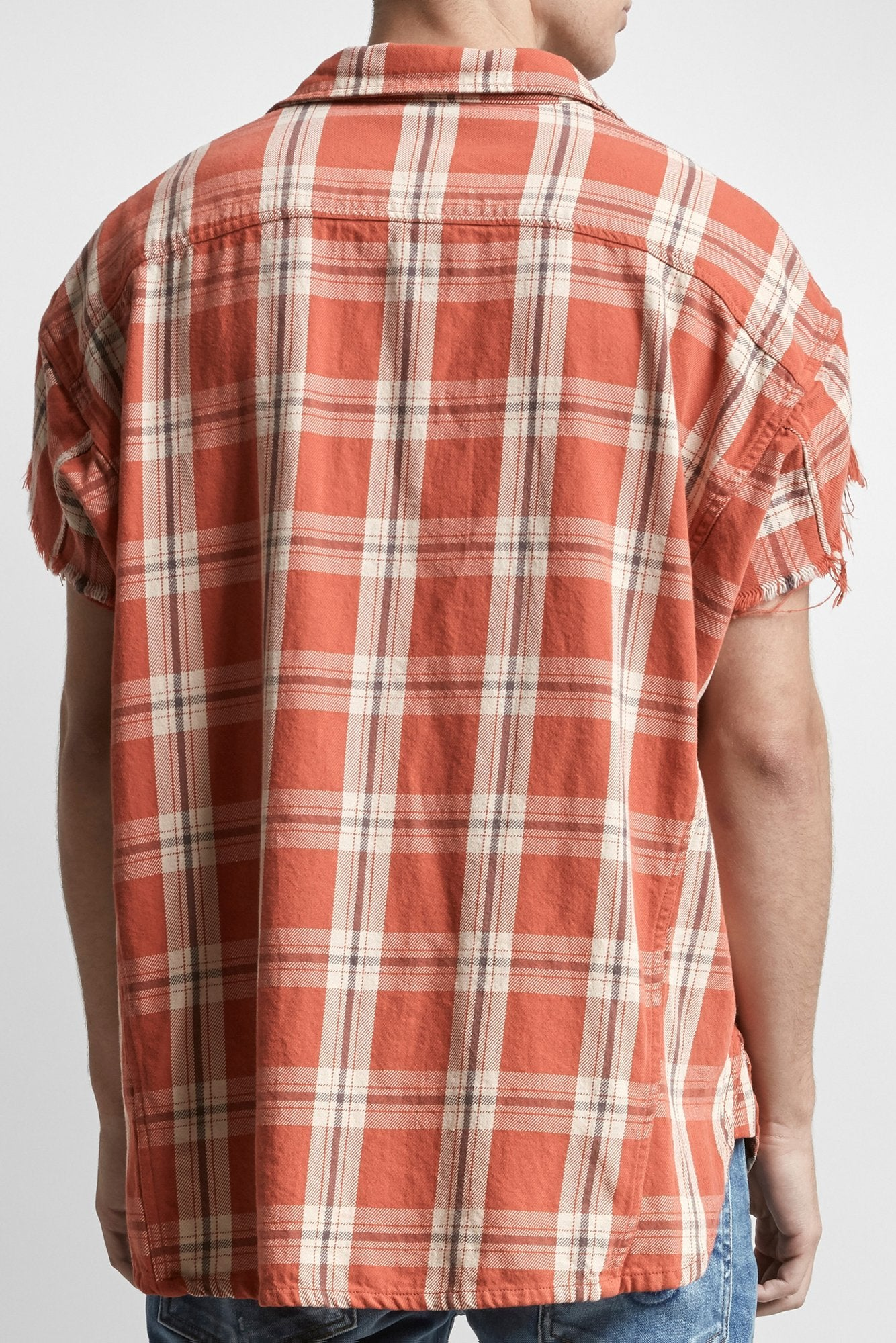 Oversized Cut-Off Shirt - Red Plaid