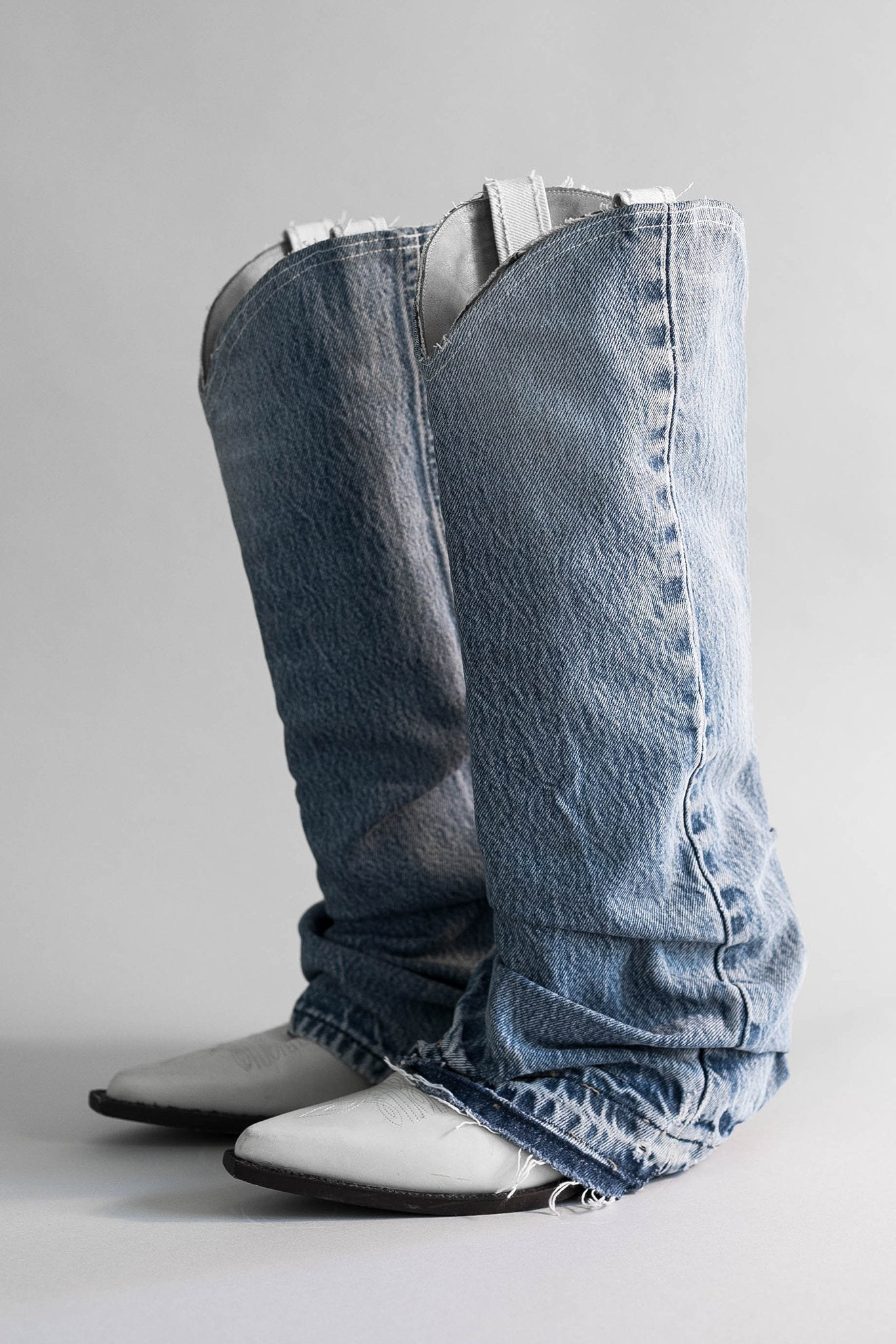Mid Cowboy Boot with Denim Sleeve - Blue and White