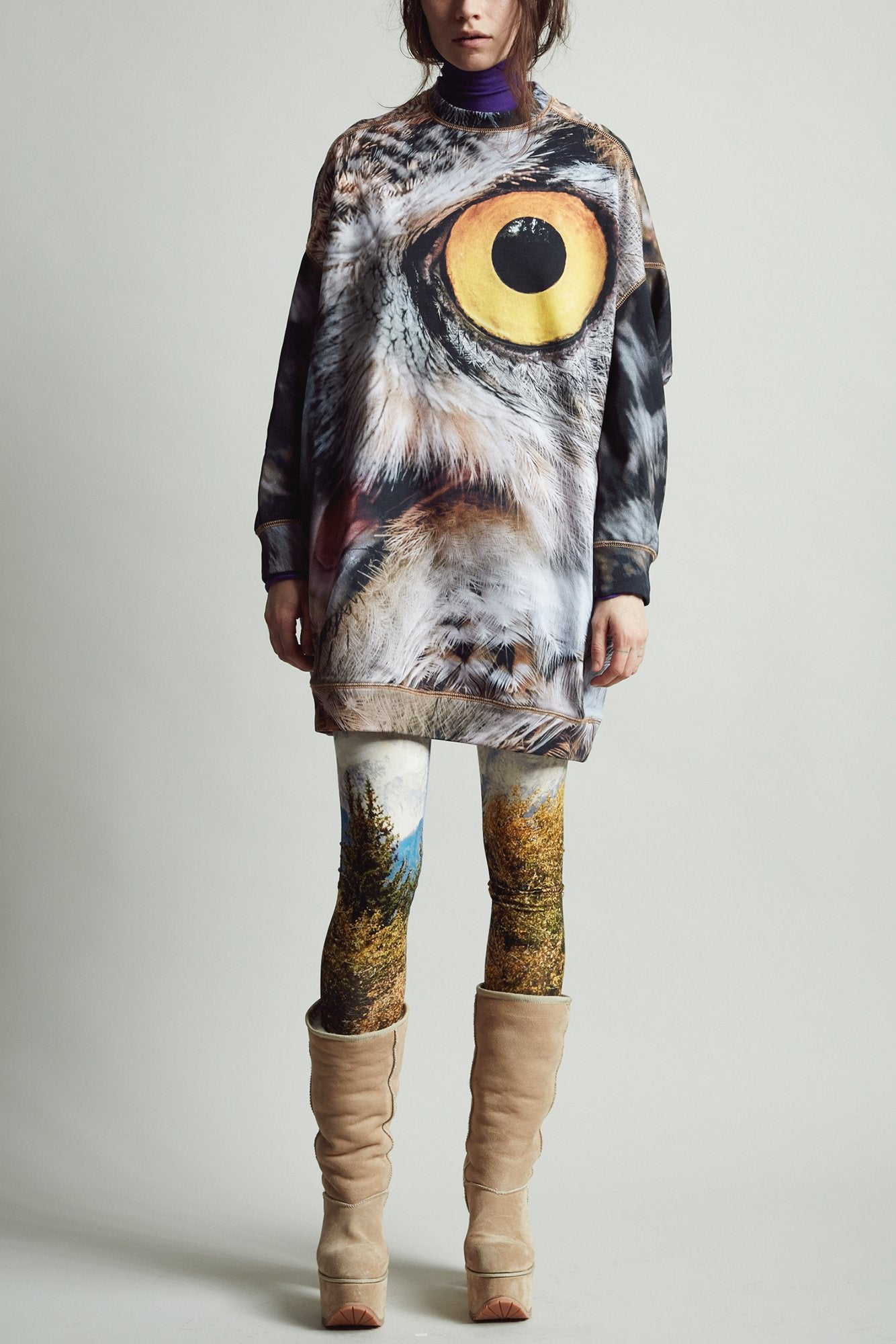Owl Grunge Sweatshirt Dress