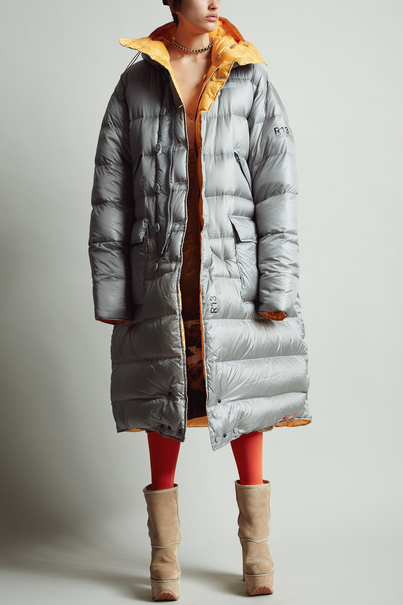 Long Anorak Puffer Jacket - Grey/Yellow