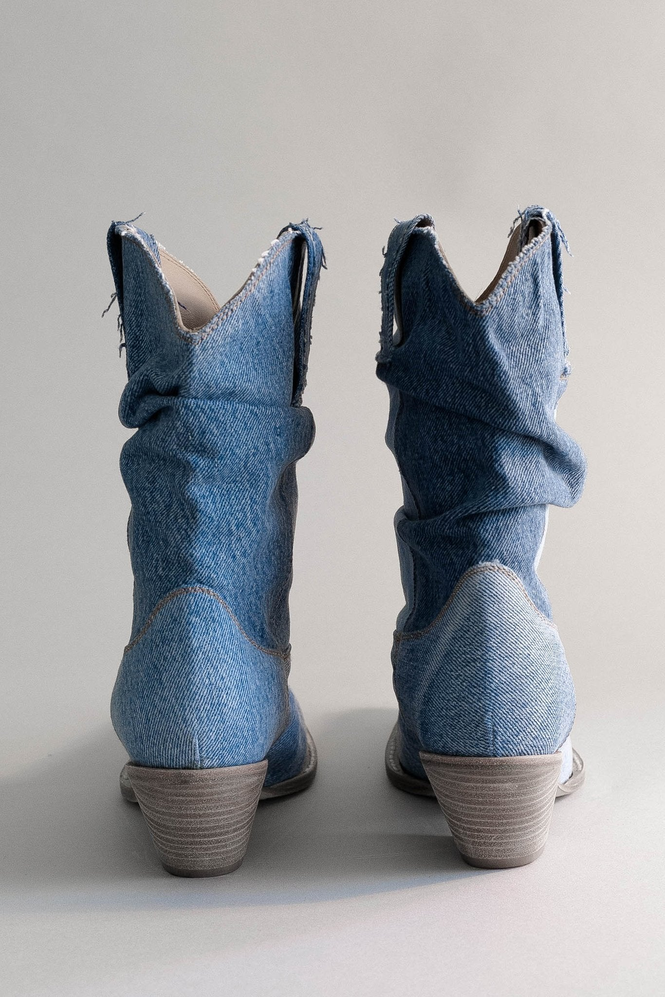 Low Crunch Cowboy Boot - Blue Denim