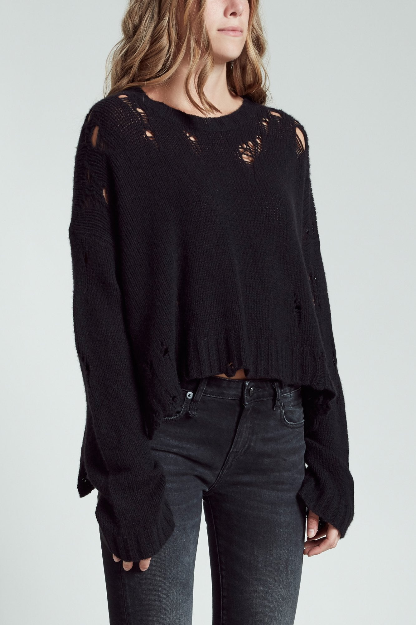 Shredded Side Slit Sweater