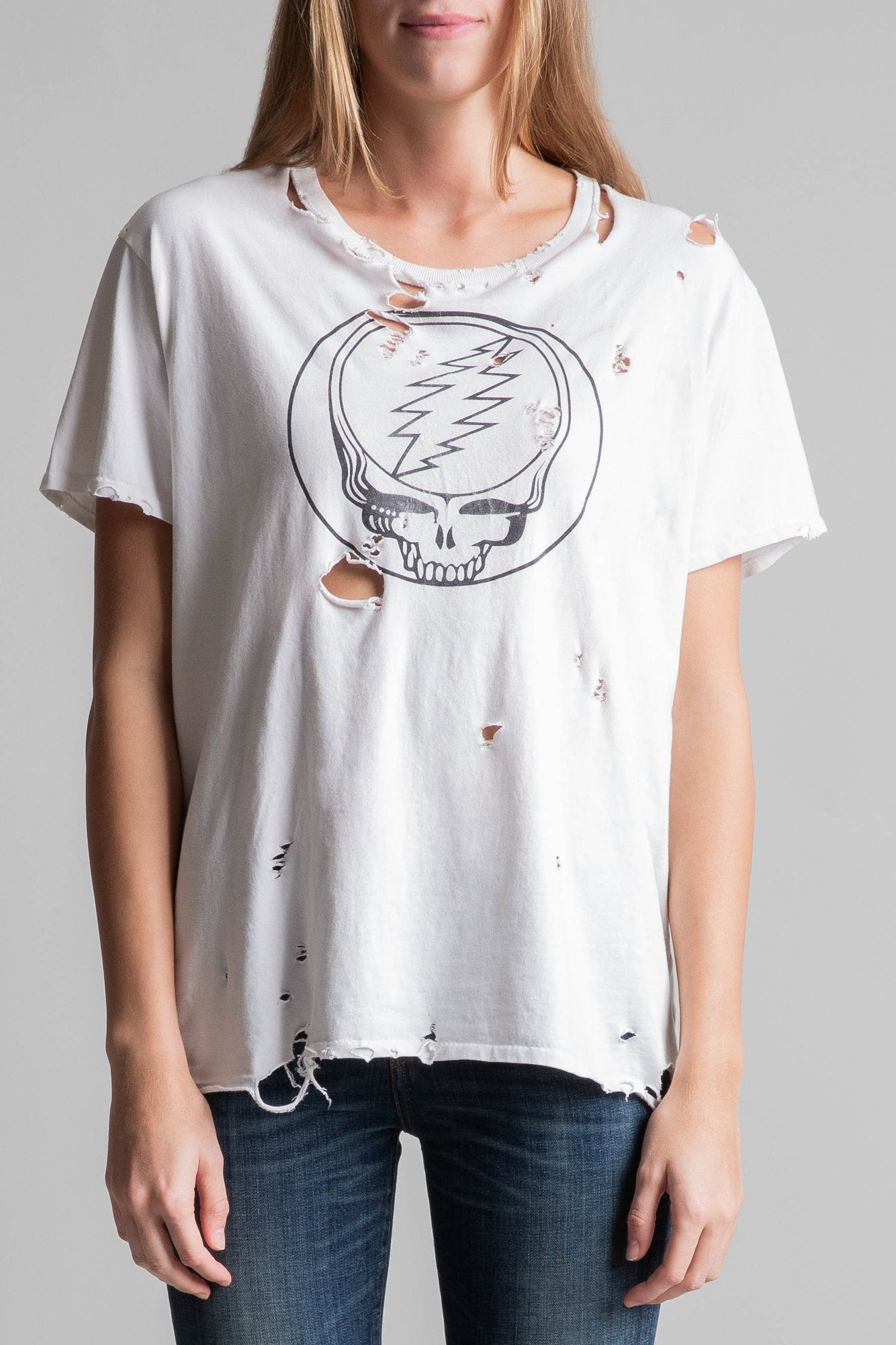 Steal Your Face Distressed Boy T– White