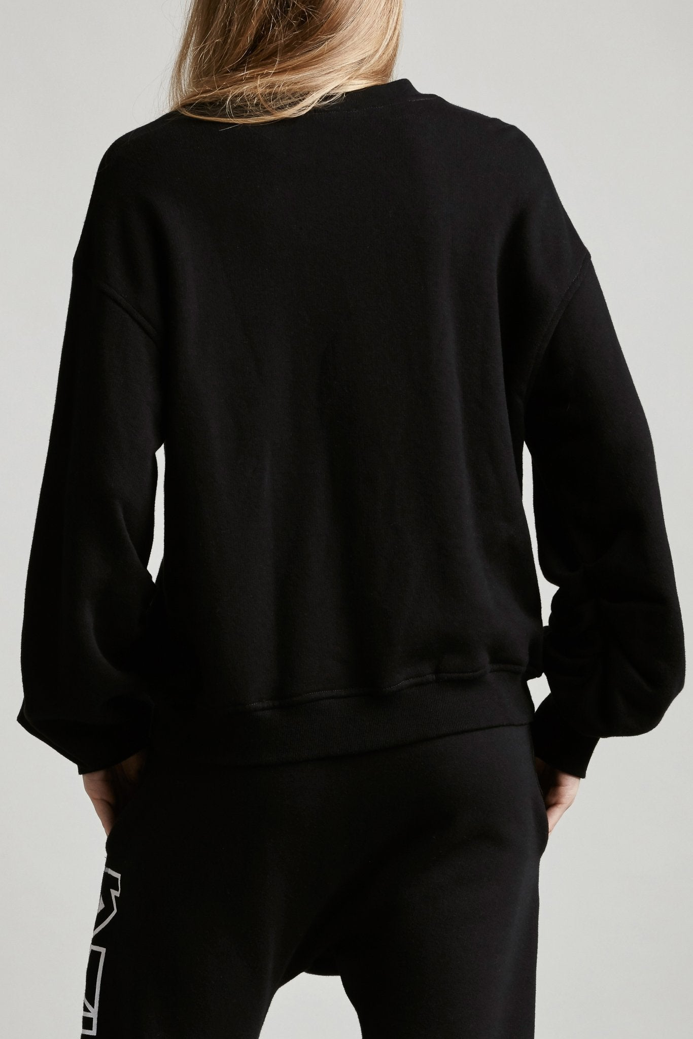 Pleated Sleeve Sweatshirt - Black