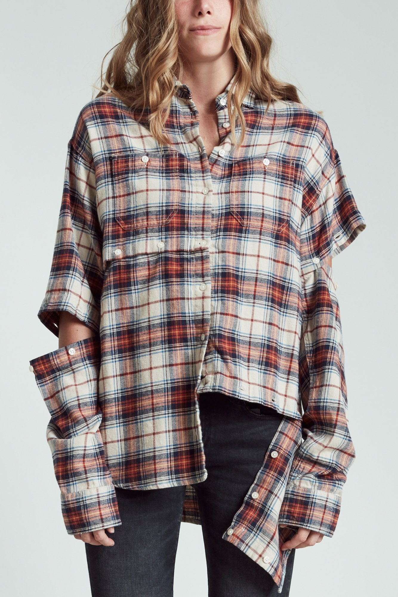 Undone Shirt - Orange Plaid