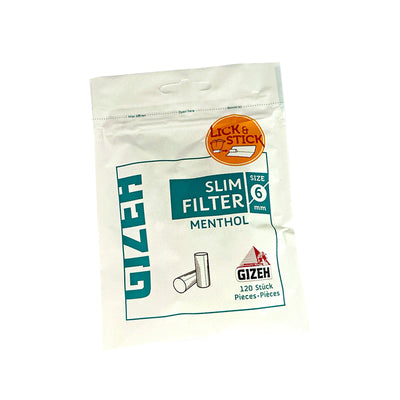 Gizeh Menthol Flavoured Lick and Stick Slim Filters for Cigarettes 120 Pack