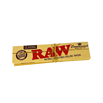 Raw Classic and Natural Kingsize Slim Rolling Paper Plus Tips