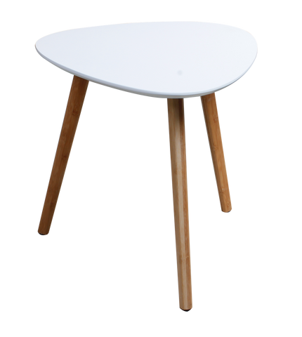 White triangular MDF table