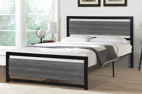 Bed - Black Metal Frame , Wood Insert  TUS-2233