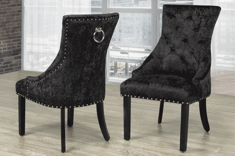 Accent Chair - Black Velvet Fabric  TUS-426