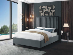 Bed - Grey Velvet Fabric and Metal Frame  IF-5545