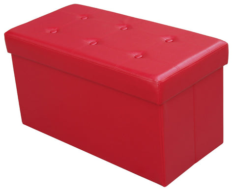 Large Folding Storage Ottoman, Red - ITY 60041R