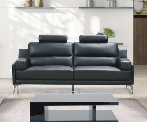 Black Top Grain /  Leather Match Sofa Couch  IF-8025