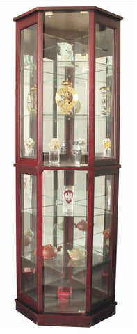 FLOOR STANDING 5 SIDED CORNER CURIO CABINET