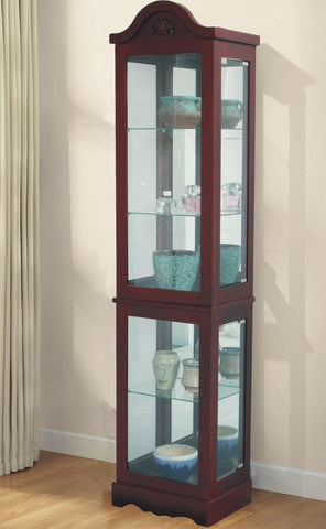 FLOOR STANDING CURIO CABINET IN CHERRY FINISH