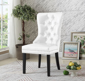 Dining Chair White Vinyl with Decorative Ring  C-1151