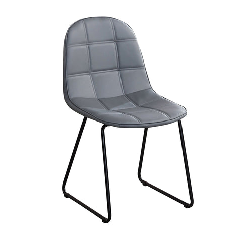 Chair Only -  Grey Vinyl with Square Stitching Pattern  C-1767