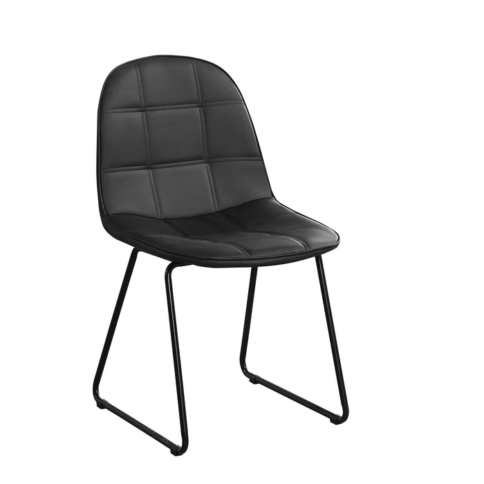 Chair Only -  Black Vinyl with Square Stitching Pattern  C-1765