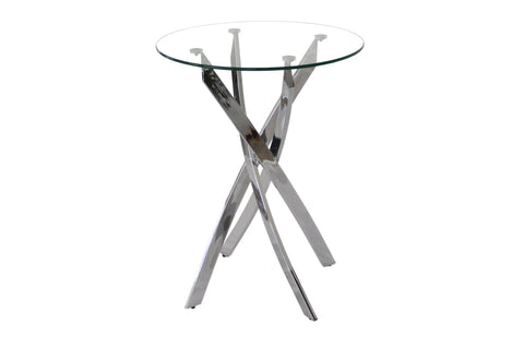 Bar Table - Chrome and Glass, Round - Genesis