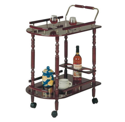 Tea Serving Cart - Dark Cherry with Gold Accents