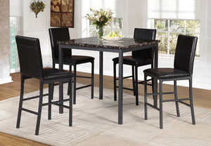 5 Pc Pub Set - Dark Faux Marble Table Top with Black Metal Legs IF-1015