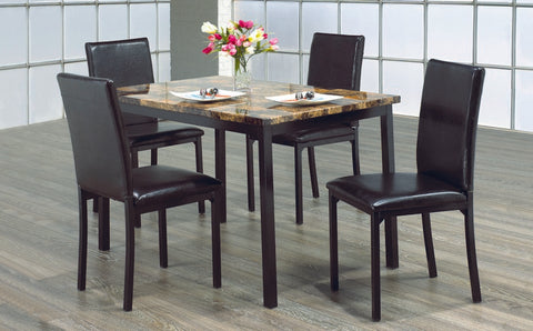 5 Pc Dinette Set - Marble Top Table | Black Metal Legs  IF-1016