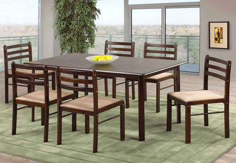 7Pc Dining Set - Espresso Table with Beige Cushion  IF-1022