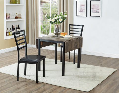 Dinette Set - Laminate Top Table with Drop Leaf | Black Metal Legs  IF-1023