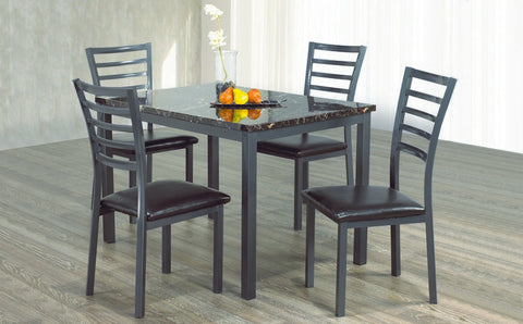 5 Pc Dinette Set - Marble Top Table | Gun Metal Legs  IF-1026