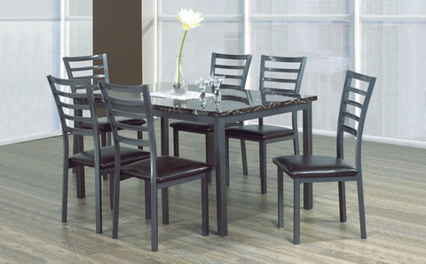 7 Pc Dinette Set - Marble Top Table | Gun Metal Legs  IF-1027