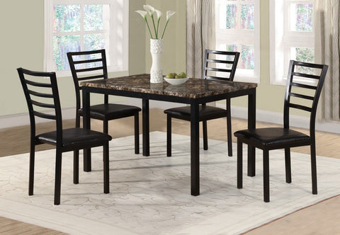 5 Pc Dinette Set - Marble Top Table | Black Metal Legs  IF-1030