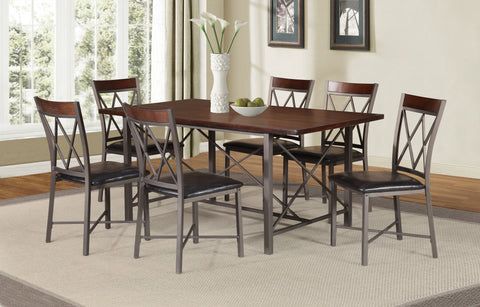 7 Pc Dining Set, Distressed Wood and Metal Base IF-1035
