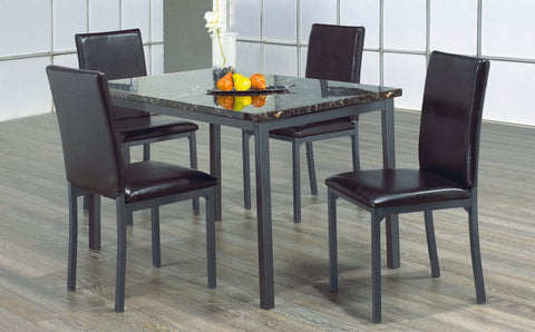 5 Pc Dinette Set - Marble Top Table | Gun Metal Legs  IF-1036