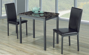 3pc Dining Set - Faux Marble Top | Gun Metal Legs  IF-1210