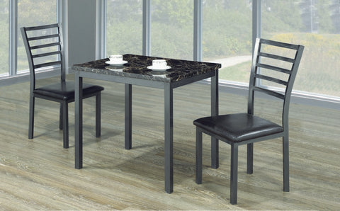 3pc Dining Set - Faux Marble Top | Gun Metal Legs  IF-1211