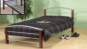 Bed - Silver Metal and Dark Cherry Post  IF-127