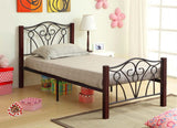 Bed - Black Metal and Dark Cherry Posts  IF-129
