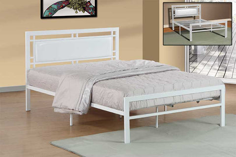 Steel Bed - Black or White with Padded Headboard  IF-141