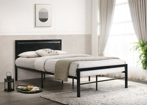 Bed - Black Metal Frame with Padded Headboard  IF-142B